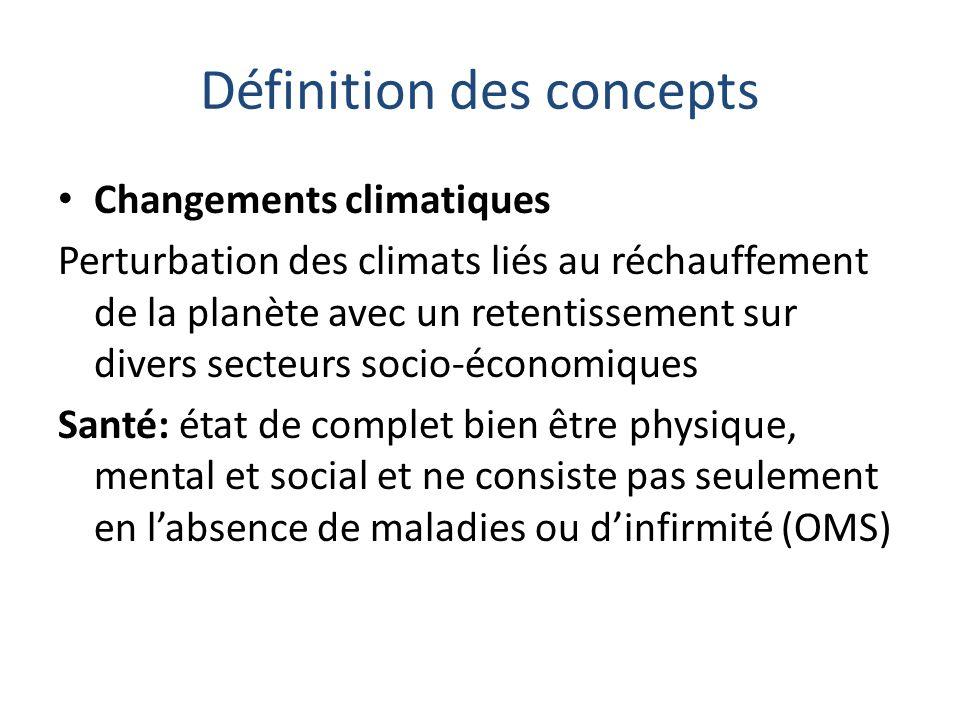 Définition des concepts Changements climatiques Perturbation des climats liés au réchauffement de la planète avec un retentissement sur divers secteur