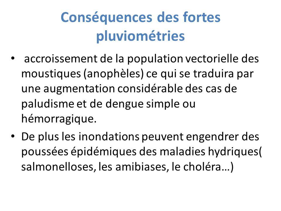 Conséquences des fortes pluviométries accroissement de la population vectorielle des moustiques (anophèles) ce qui se traduira par une augmentation co