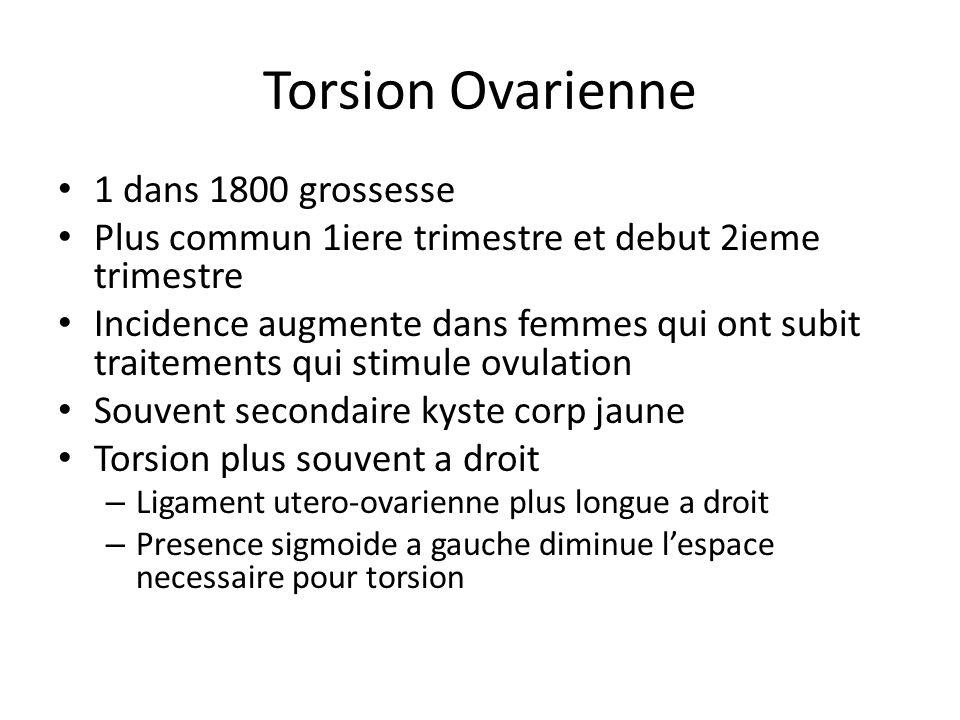 Torsion Ovarienne 1 dans 1800 grossesse Plus commun 1iere trimestre et debut 2ieme trimestre Incidence augmente dans femmes qui ont subit traitements