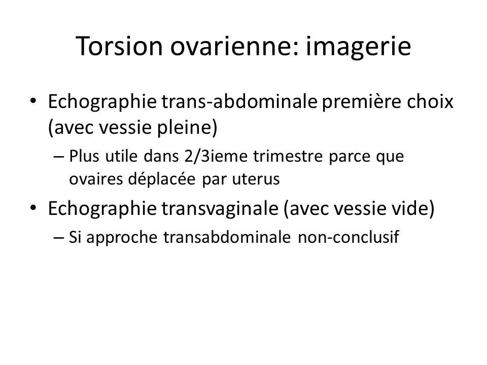 Torsion ovarienne: imagerie Echographie trans-abdominale première choix (avec vessie pleine) – Plus utile dans 2/3ieme trimestre parce que ovaires dép