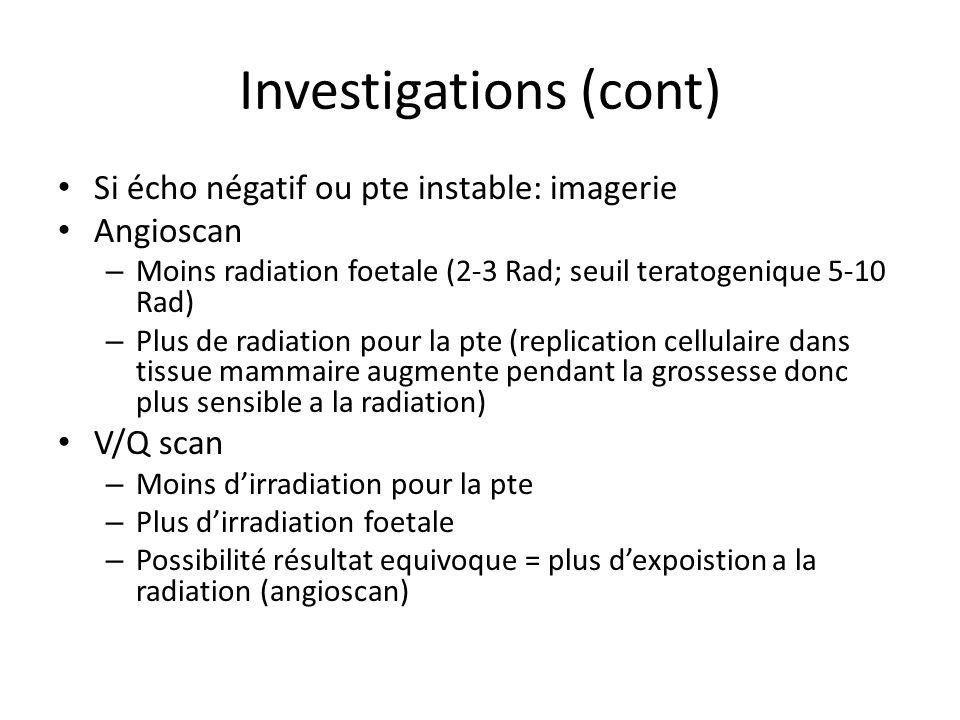 Investigations (cont) Si écho négatif ou pte instable: imagerie Angioscan – Moins radiation foetale (2-3 Rad; seuil teratogenique 5-10 Rad) – Plus de