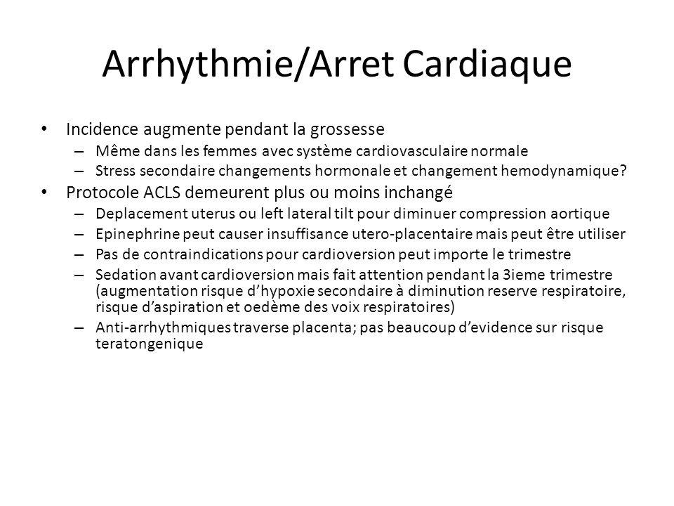Arrhythmie/Arret Cardiaque Incidence augmente pendant la grossesse – Même dans les femmes avec système cardiovasculaire normale – Stress secondaire ch