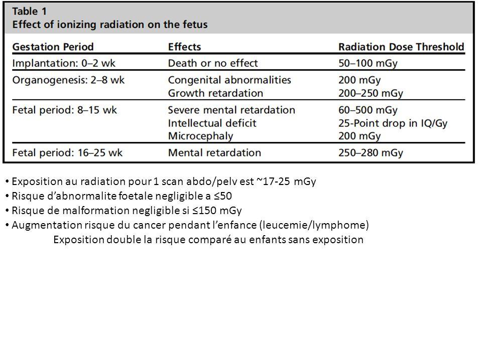 Exposition au radiation pour 1 scan abdo/pelv est ~17-25 mGy Risque dabnormalite foetale negligible a 50 Risque de malformation negligible si 150 mGy