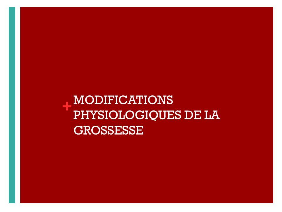+ MODIFICATIONS PHYSIOLOGIQUES DE LA GROSSESSE