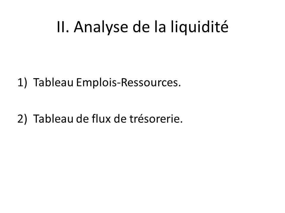 II. Analyse de la liquidité 1)Tableau Emplois-Ressources. 2)Tableau de flux de trésorerie.