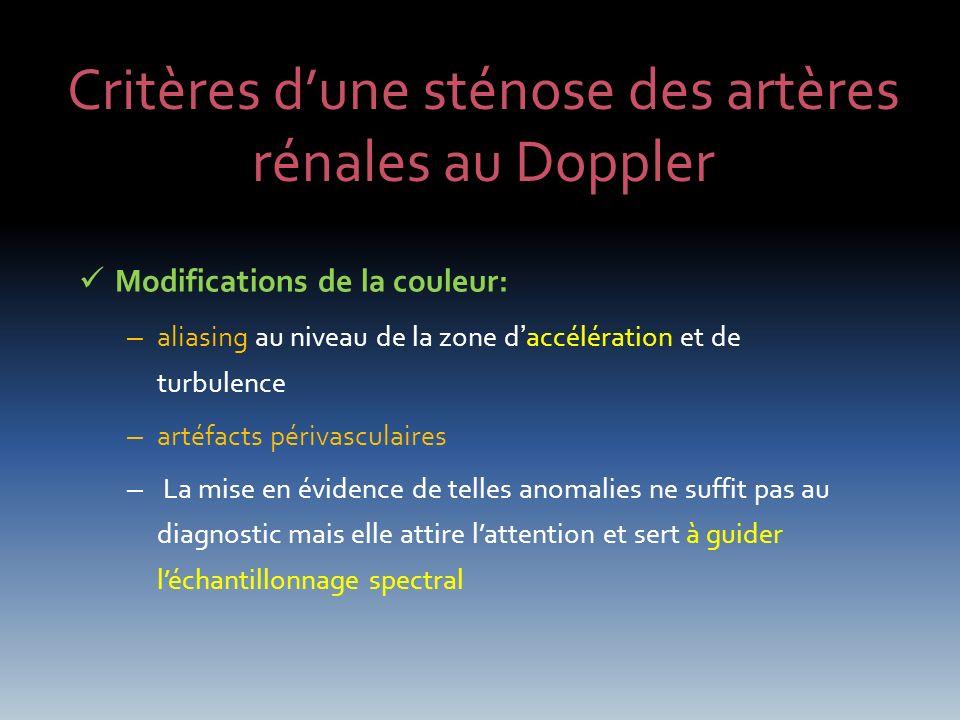 Critères dune sténose des artères rénales au Doppler Modifications de la couleur: – aliasing au niveau de la zone daccélération et de turbulence – art