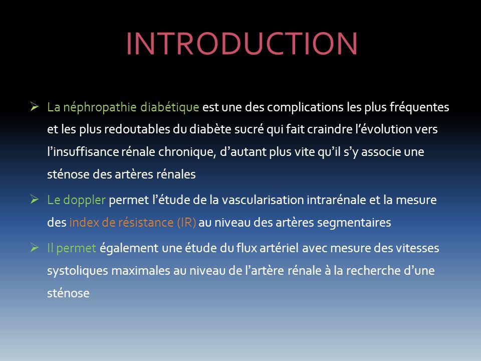 INTRODUCTION La néphropathie diabétique est une des complications les plus fréquentes et les plus redoutables du diabète sucré qui fait craindre lévol