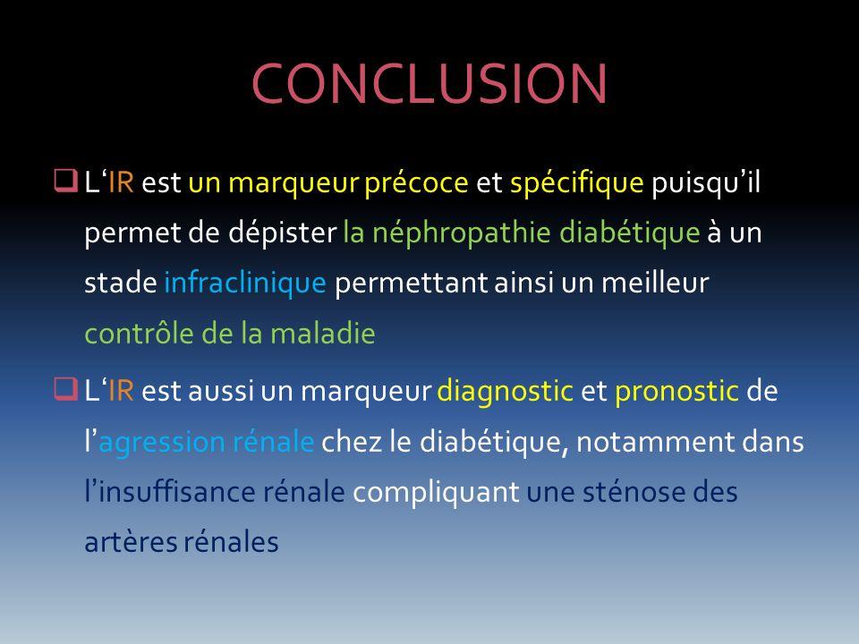 CONCLUSION LIR est un marqueur précoce et spécifique puisquil permet de dépister la néphropathie diabétique à un stade infraclinique permettant ainsi