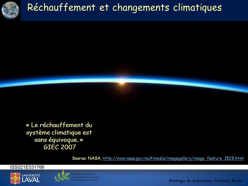 Réchauffement et changements climatiques Montage du diaporama: Nathalie Bacon Source: NASA, http://www.nasa.gov/multimedia/imagegallery/image_feature_