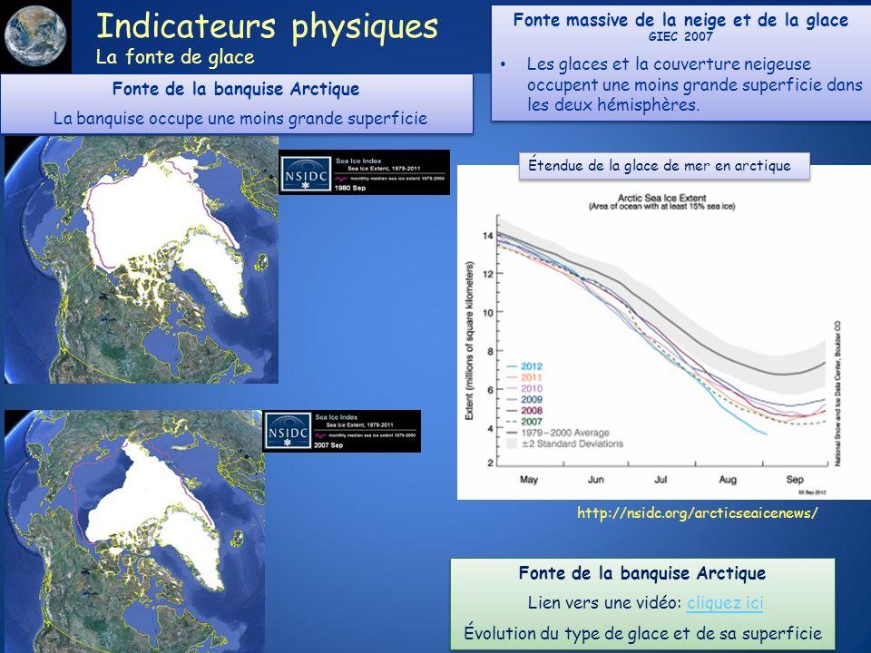 http://nsidc.org/arcticseaicenews/ Indicateurs physiques La fonte de glace Étendue de la glace de mer en arctique Fonte de la banquise Arctique La ban