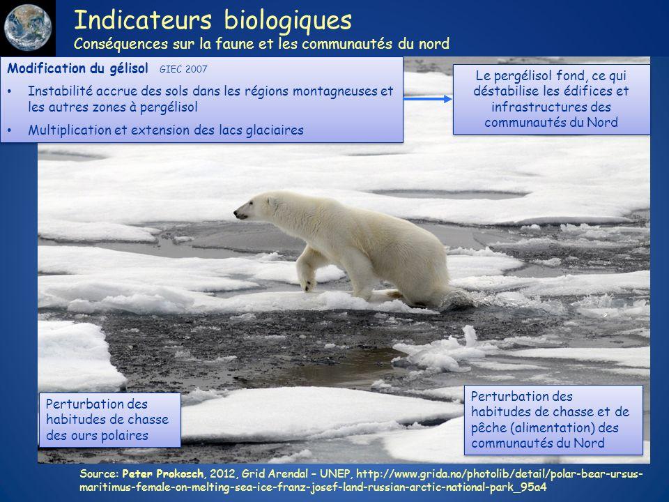 Indicateurs biologiques Conséquences sur la faune et les communautés du nord Source: Peter Prokosch, 2012, Grid Arendal – UNEP, http://www.grida.no/ph