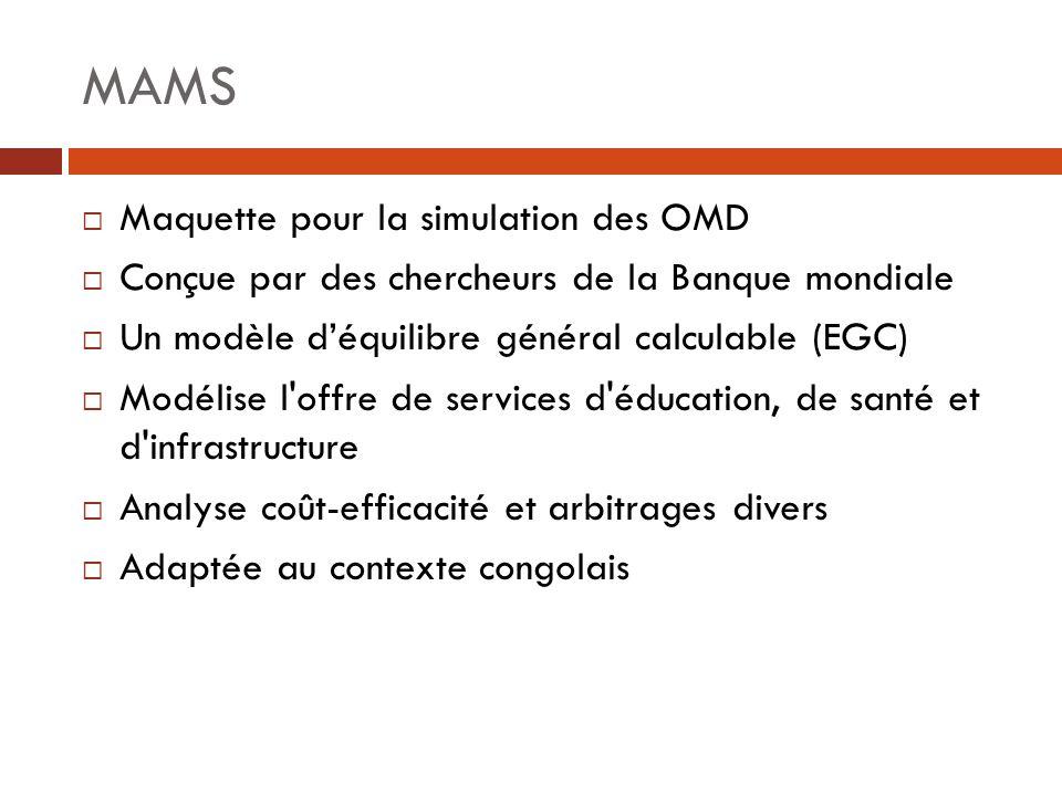MAMS Maquette pour la simulation des OMD Conçue par des chercheurs de la Banque mondiale Un modèle déquilibre général calculable (EGC) Modélise l'offr