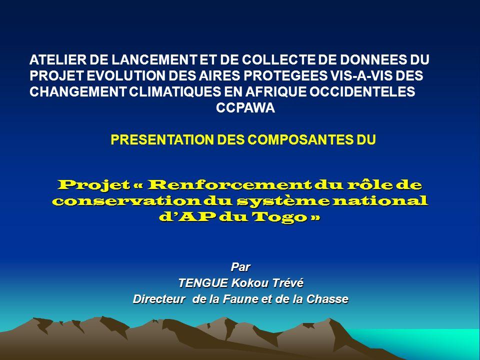 Par TENGUE Kokou Trévé Directeur de la Faune et de la Chasse Projet « Renforcement du rôle de conservation du système national dAP du Togo » ATELIER DE LANCEMENT ET DE COLLECTE DE DONNEES DU PROJET EVOLUTION DES AIRES PROTEGEES VIS-A-VIS DES CHANGEMENT CLIMATIQUES EN AFRIQUE OCCIDENTELES CCPAWA PRESENTATION DES COMPOSANTES DU
