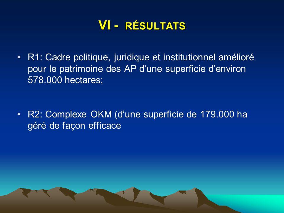 VI - RÉSULTATS R1: Cadre politique, juridique et institutionnel amélioré pour le patrimoine des AP dune superficie denviron 578.000 hectares; R2: Complexe OKM (dune superficie de 179.000 ha géré de façon efficace