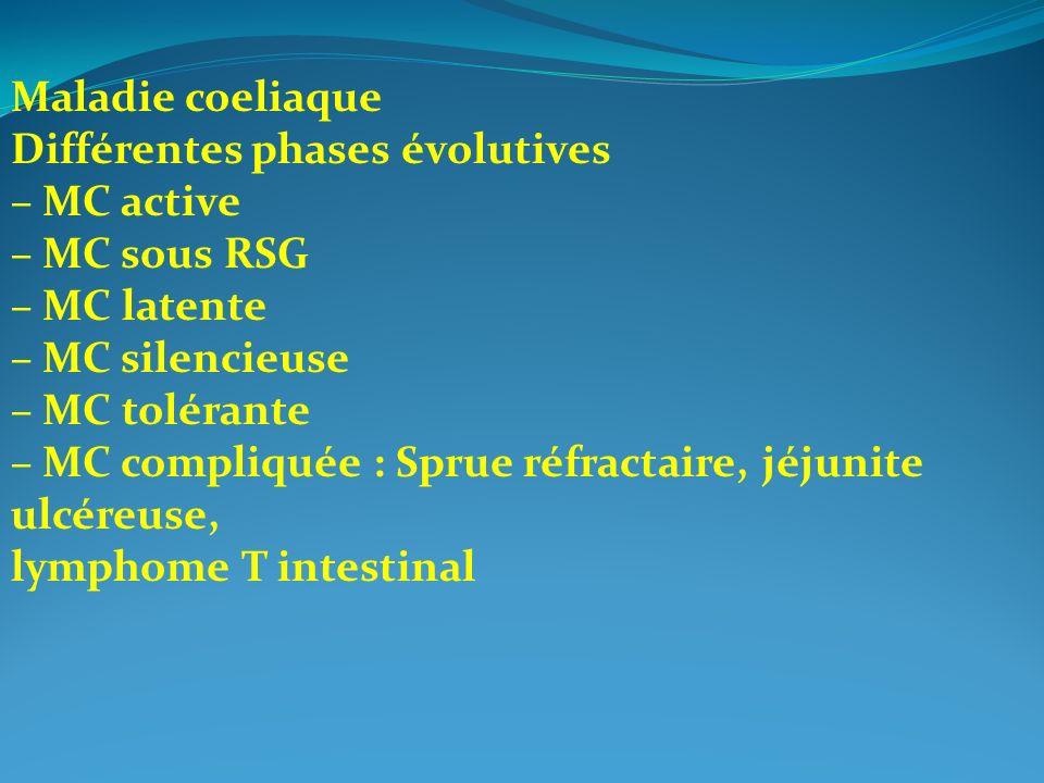 Maladie coeliaque Différentes phases évolutives – MC active – MC sous RSG – MC latente – MC silencieuse – MC tolérante – MC compliquée : Sprue réfract