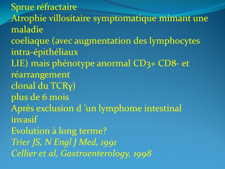 Sprue réfractaire Atrophie villositaire symptomatique mimant une maladie coeliaque (avec augmentation des lymphocytes intra-épithéliaux LIE) mais phén