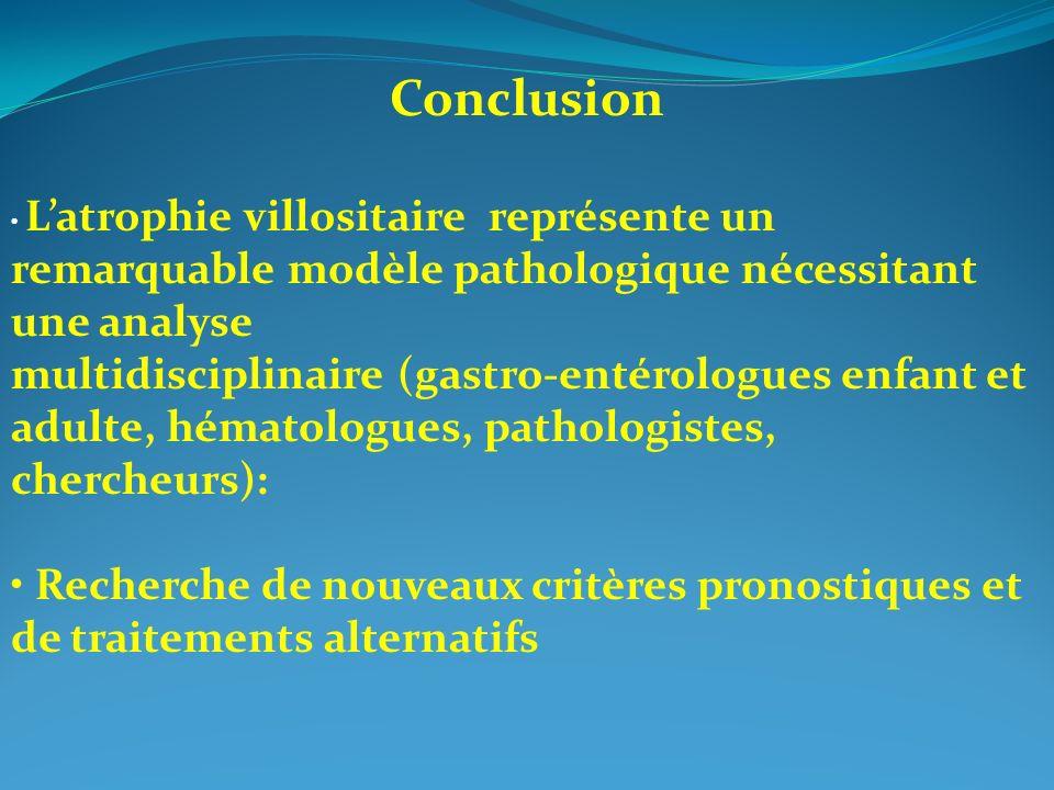 Conclusion Latrophie villositaire représente un remarquable modèle pathologique nécessitant une analyse multidisciplinaire (gastro-entérologues enfant