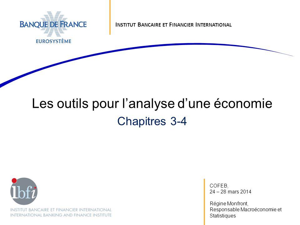 COFEB, 24 – 28 mars 2014 Régine Monfront, Responsable Macroéconomie et Statistiques Les outils pour lanalyse dune économie Chapitres 3-4 I NSTITUT B A