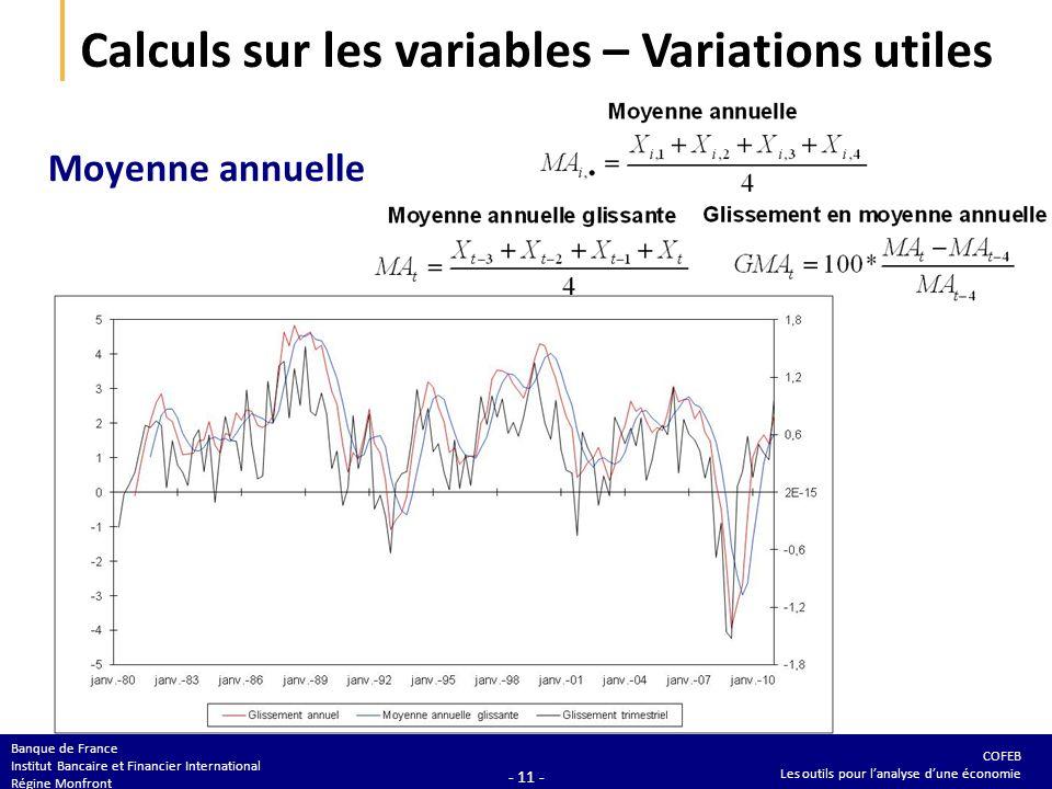 COFEB Les outils pour lanalyse dune économie Banque de France Institut Bancaire et Financier International Régine Monfront - 11 - Calculs sur les vari