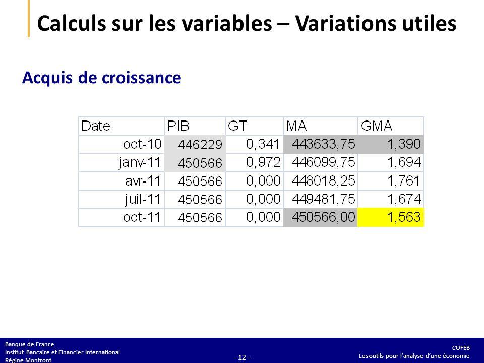COFEB Les outils pour lanalyse dune économie Banque de France Institut Bancaire et Financier International Régine Monfront - 12 - Calculs sur les vari