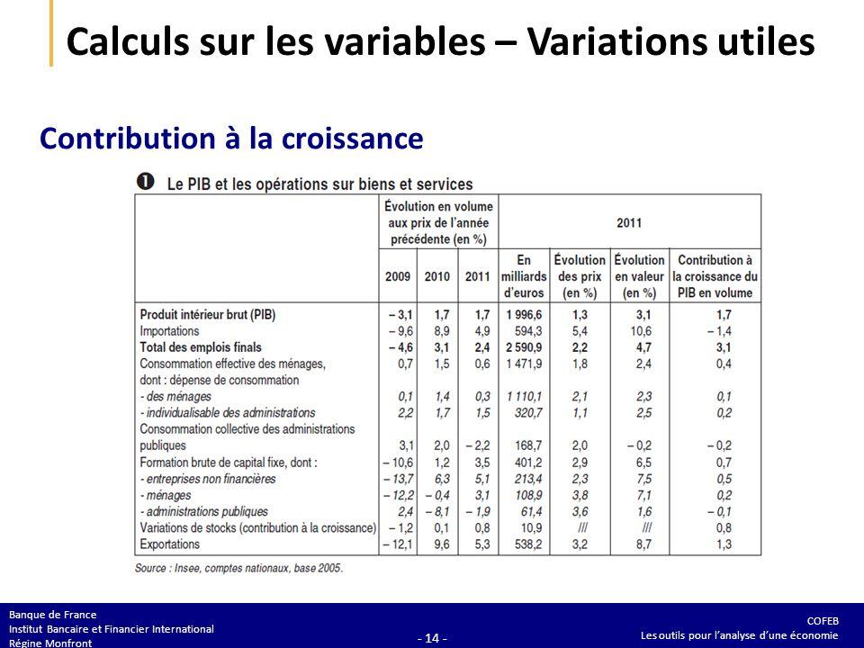 COFEB Les outils pour lanalyse dune économie Banque de France Institut Bancaire et Financier International Régine Monfront - 14 - Calculs sur les vari