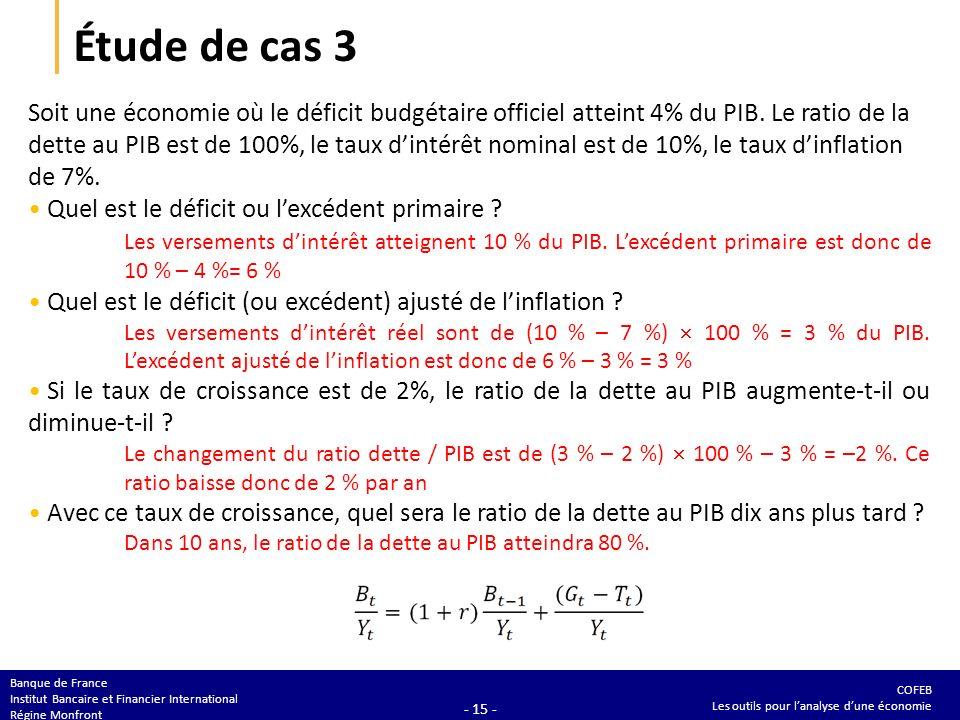 COFEB Les outils pour lanalyse dune économie Banque de France Institut Bancaire et Financier International Régine Monfront - 15 - Étude de cas 3 Soit une économie où le déficit budgétaire officiel atteint 4% du PIB.