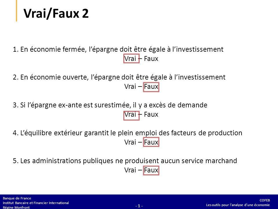COFEB Les outils pour lanalyse dune économie Banque de France Institut Bancaire et Financier International Régine Monfront - 1 - Vrai/Faux 2 1.