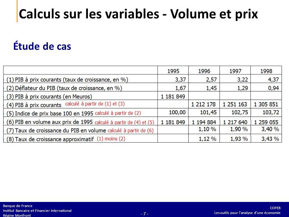 COFEB Les outils pour lanalyse dune économie Banque de France Institut Bancaire et Financier International Régine Monfront - 7 - Calculs sur les variables - Volume et prix Étude de cas