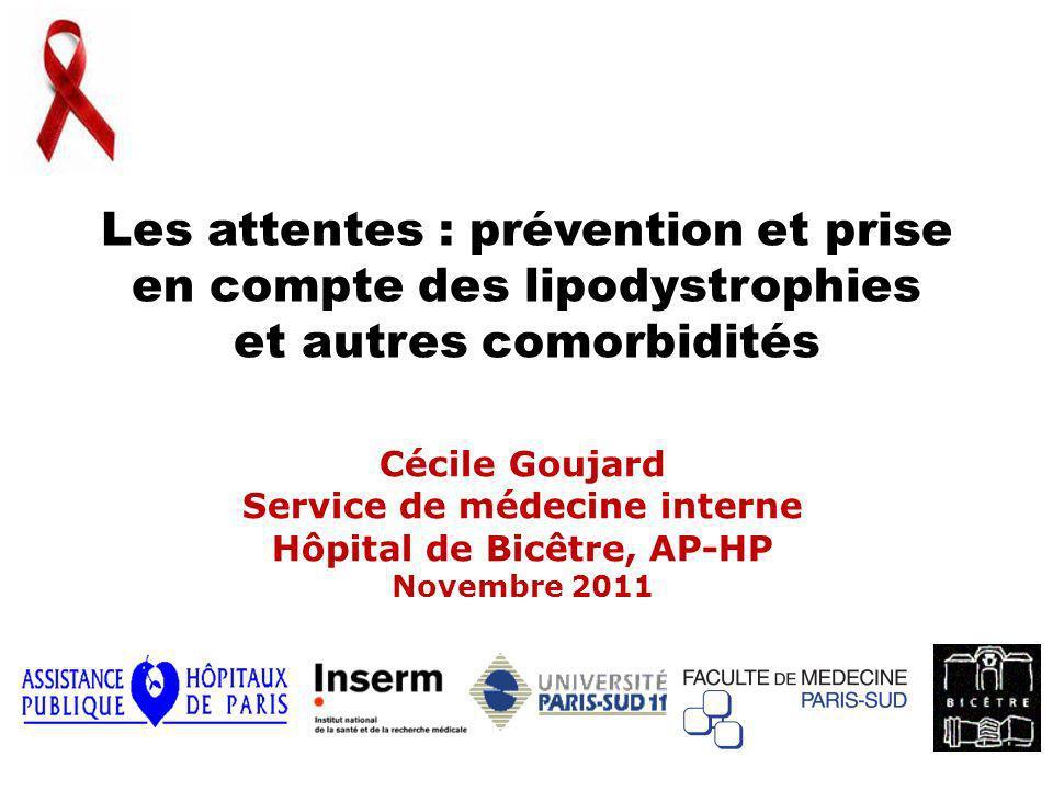 Les attentes : prévention et prise en compte des lipodystrophies et autres comorbidités Cécile Goujard Service de médecine interne Hôpital de Bicêtre,