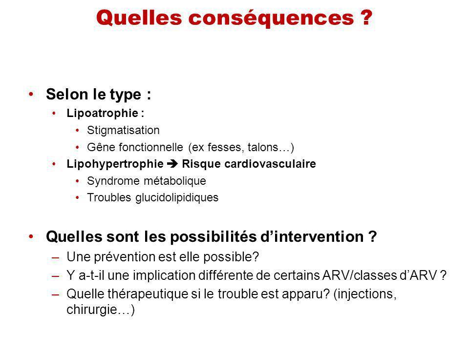 Quelles conséquences ? Selon le type : Lipoatrophie : Stigmatisation Gêne fonctionnelle (ex fesses, talons…) Lipohypertrophie Risque cardiovasculaire