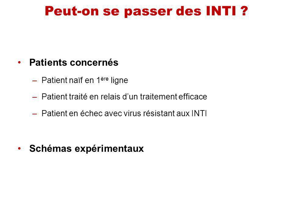 Peut-on se passer des INTI ? Patients concernés –Patient naïf en 1 ère ligne –Patient traité en relais dun traitement efficace –Patient en échec avec