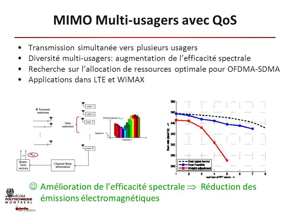 Internet: 2% des émissions de CO 2 Communications mobiles: secteur en expansion avec émissions de 178 Mtonnes de CO 2 prévues en 2020 MIMO Multi-usagers Réduction de la puissance requise par usagers Réduction des coûts dénergie Réduction des émissions de CO 2 de 32 Mtonnes par année Projet avec Prof.