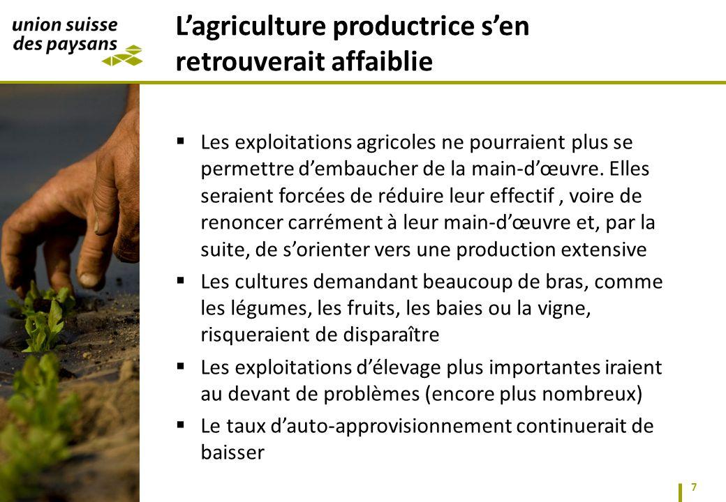 Les exploitations agricoles ne pourraient plus se permettre dembaucher de la main-dœuvre.