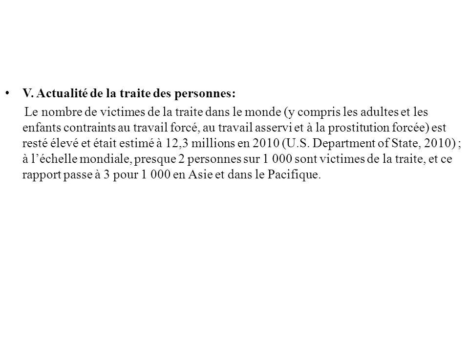 V. Actualité de la traite des personnes: Le nombre de victimes de la traite dans le monde (y compris les adultes et les enfants contraints au travail