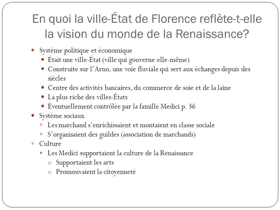 En quoi la ville-État de Florence reflète-t-elle la vision du monde de la Renaissance.