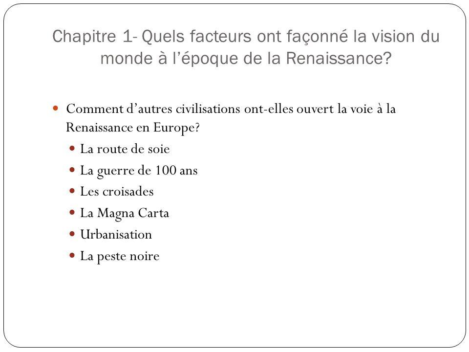 Chapitre 1- Quels facteurs ont façonné la vision du monde à lépoque de la Renaissance.
