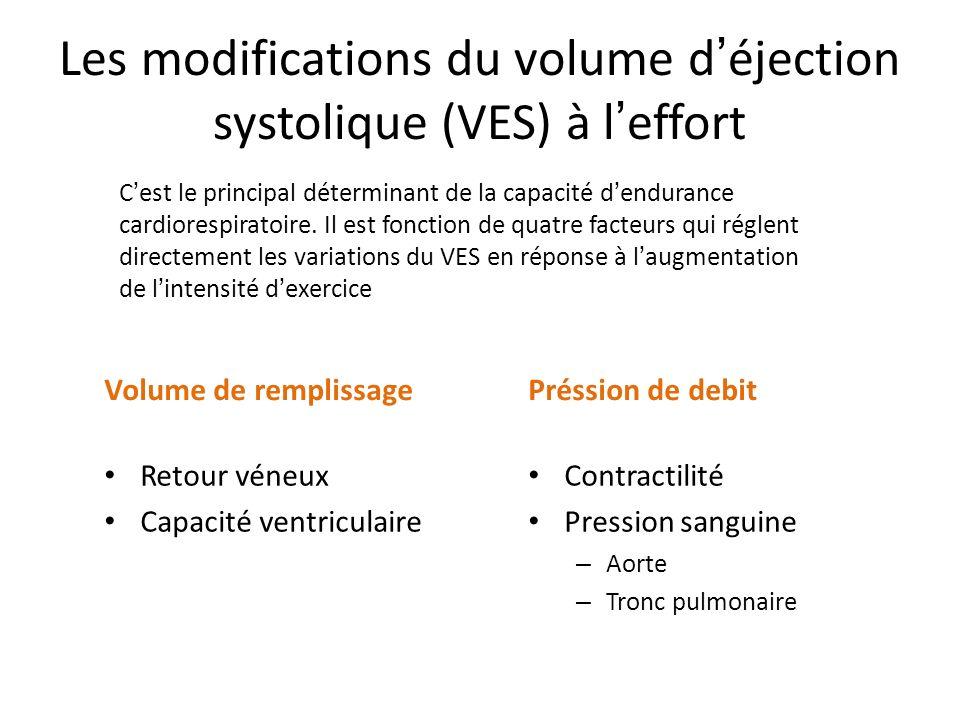 Les modifications du volume d éjection systolique (VES) à l effort Volume de remplissage Retour véneux Capacité ventriculaire Préssion de debit Contra