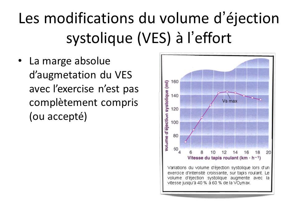 Les modifications du volume d éjection systolique (VES) à l effort La marge absolue daugmetation du VES avec lexercise nest pas complètement compris (ou accepté)