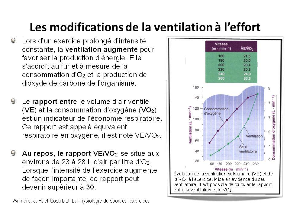 Les modifications de la ventilation à leffort Unité 1 – Principe de la physiologie de lexercice et évaluation de lexercice