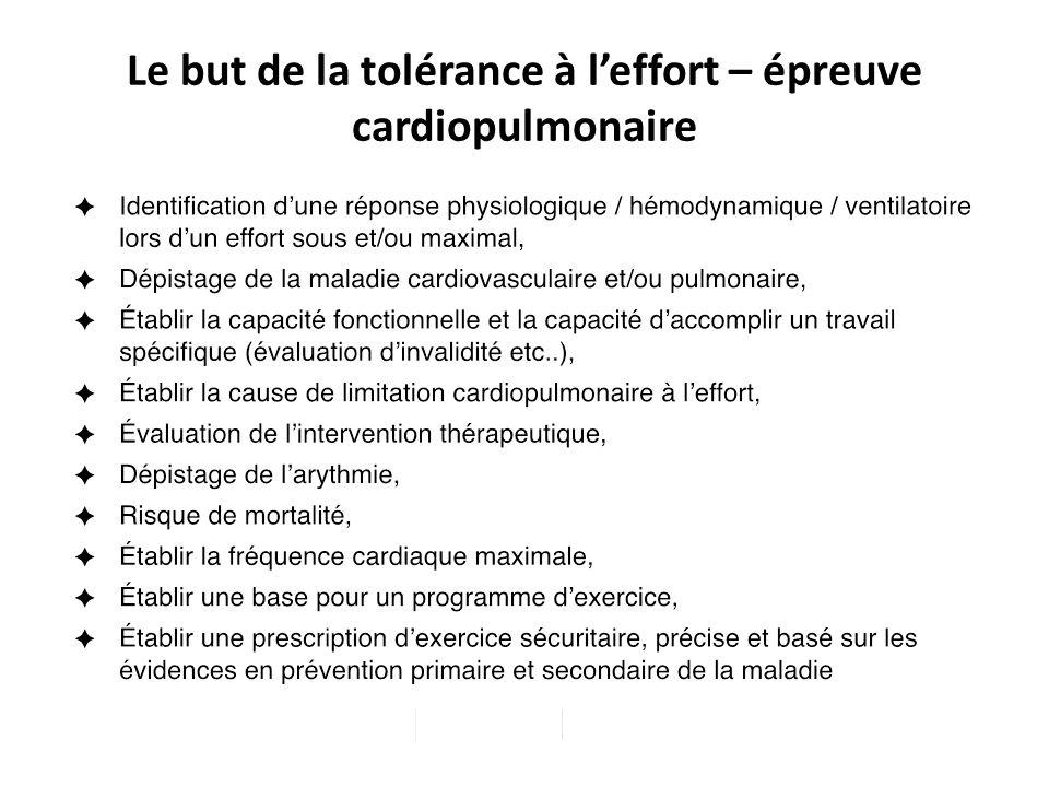 Le but de la tolérance à leffort – épreuve cardiopulmonaire Unité 1 – Principe de la physiologie de lexercice et évaluation de lexercice