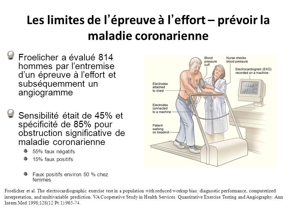 Les limites de l épreuve à l effort – prévoir la maladie coronarienne Froelicher a évalué 814 hommes par lentremise dun épreuve à leffort et subséquem