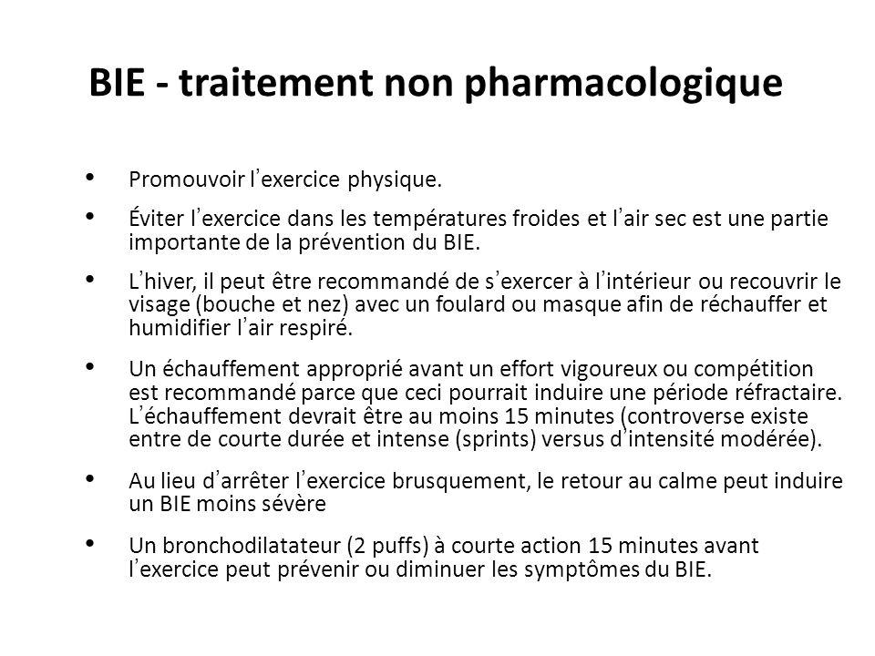 BIE - traitement non pharmacologique Promouvoir lexercice physique. Éviter lexercice dans les températures froides et lair sec est une partie importan