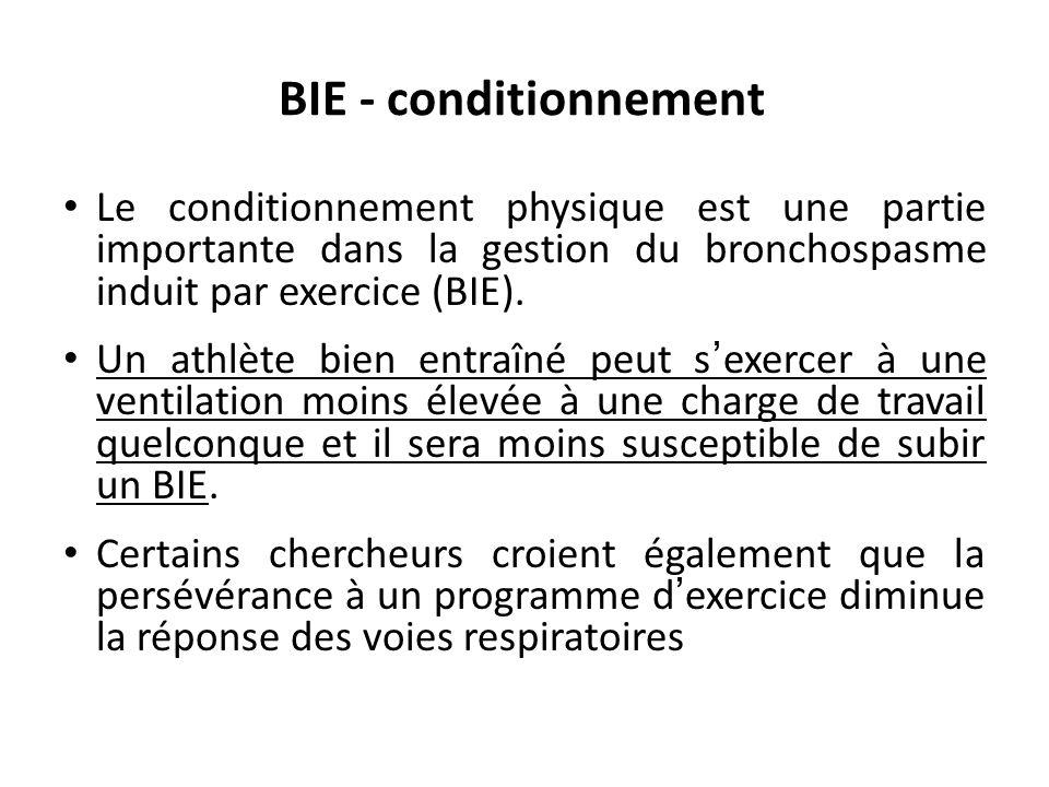 BIE - conditionnement Le conditionnement physique est une partie importante dans la gestion du bronchospasme induit par exercice (BIE). Un athlète bie