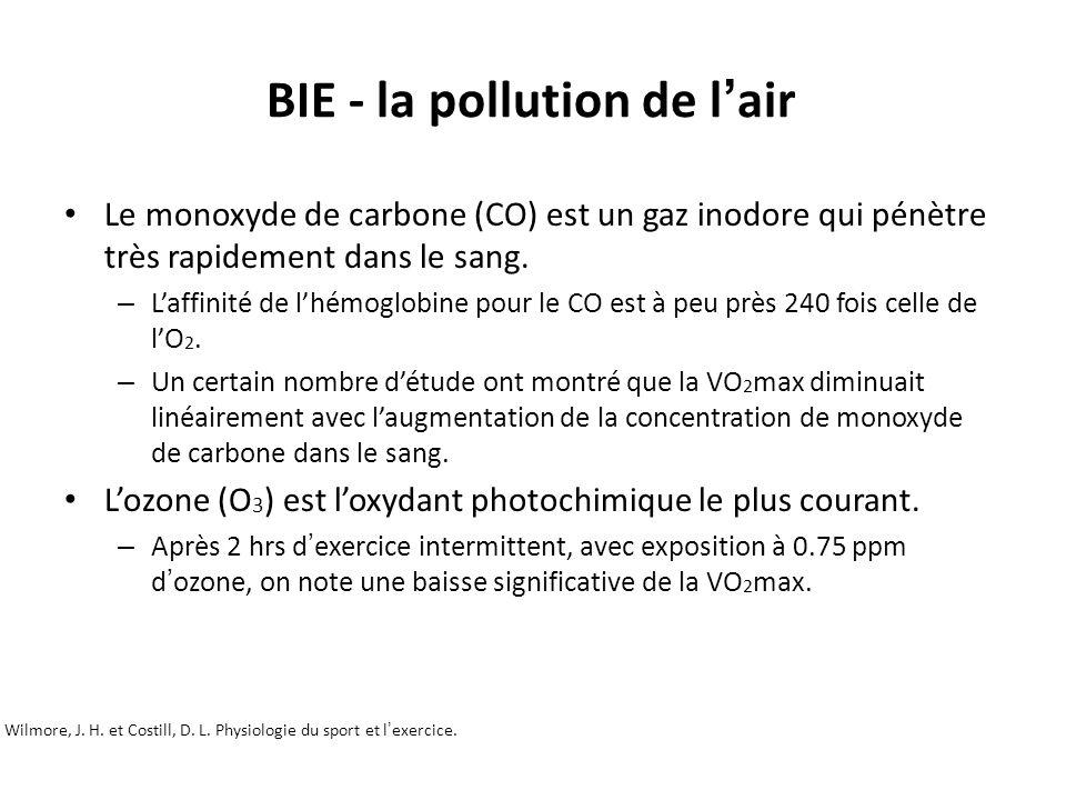 BIE - la pollution de l air Wilmore, J. H. et Costill, D. L. Physiologie du sport et lexercice. Unité 1 – Principe de la physiologie de lexercice et é