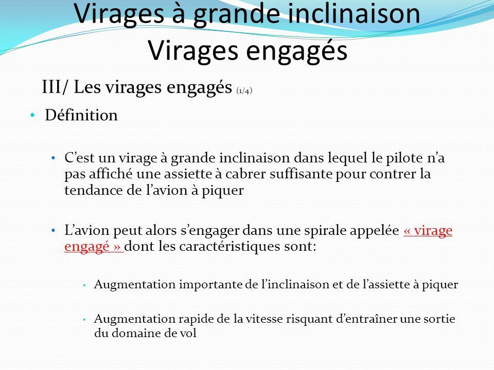 Virages à grande inclinaison Virages engagés III/ Les virages engagés (1/4) Définition Cest un virage à grande inclinaison dans lequel le pilote na pa