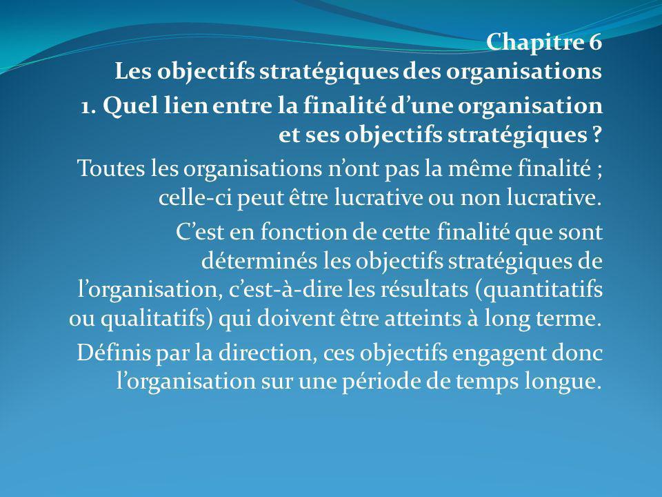 Chapitre 6 Les objectifs stratégiques des organisations 1. Quel lien entre la finalité dune organisation et ses objectifs stratégiques ? Toutes les or
