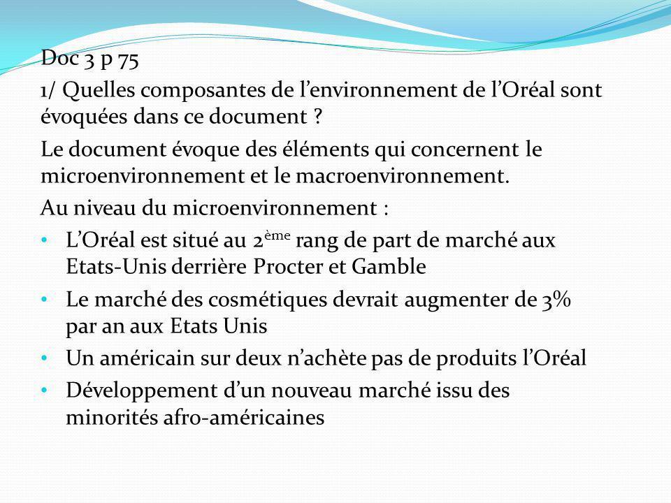 Doc 3 p 75 1/ Quelles composantes de lenvironnement de lOréal sont évoquées dans ce document ? Le document évoque des éléments qui concernent le micro