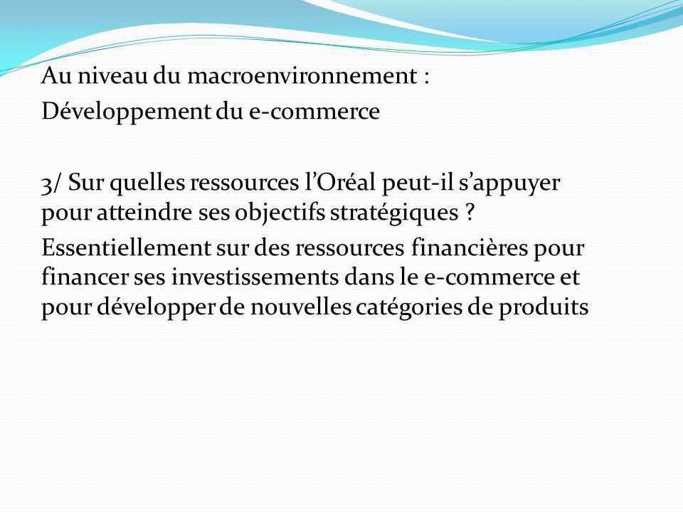 Au niveau du macroenvironnement : Développement du e-commerce 3/ Sur quelles ressources lOréal peut-il sappuyer pour atteindre ses objectifs stratégiq