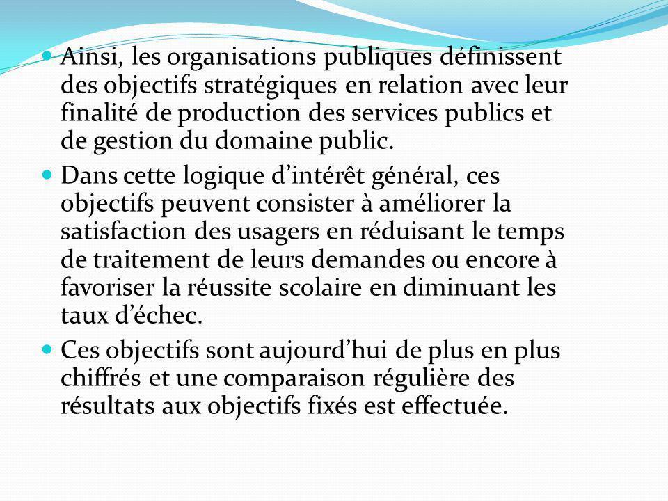 Ainsi, les organisations publiques définissent des objectifs stratégiques en relation avec leur finalité de production des services publics et de gest