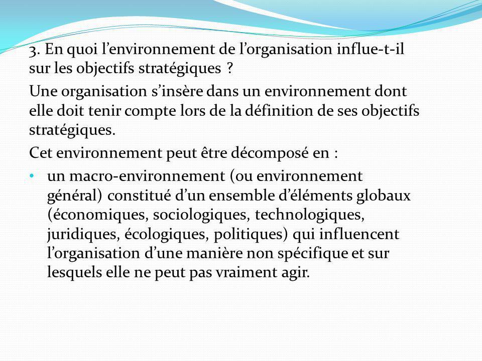 3. En quoi lenvironnement de lorganisation influe-t-il sur les objectifs stratégiques ? Une organisation sinsère dans un environnement dont elle doit